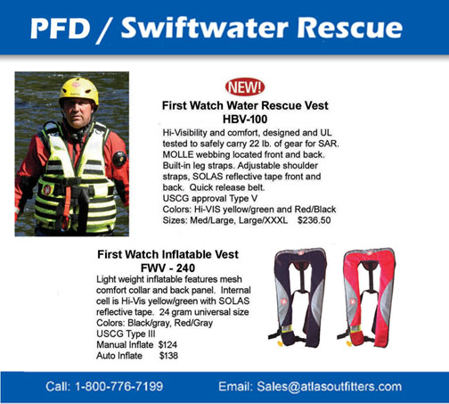 First Watch swiftwater and inflatable pfd