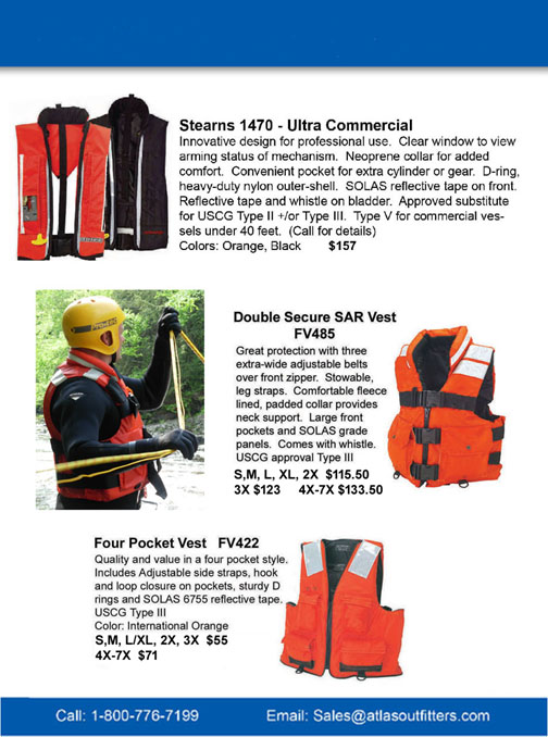 Stearns inflatable and rescue pfds