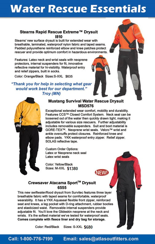 Water rescue drysuits