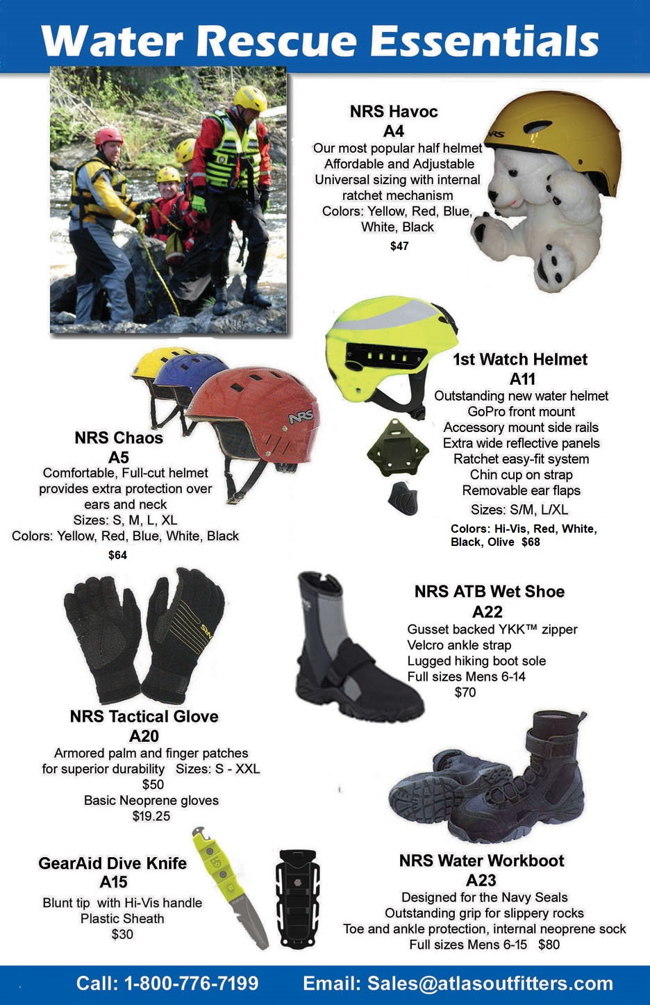 Helmets, gloves and foot wear for water rescue